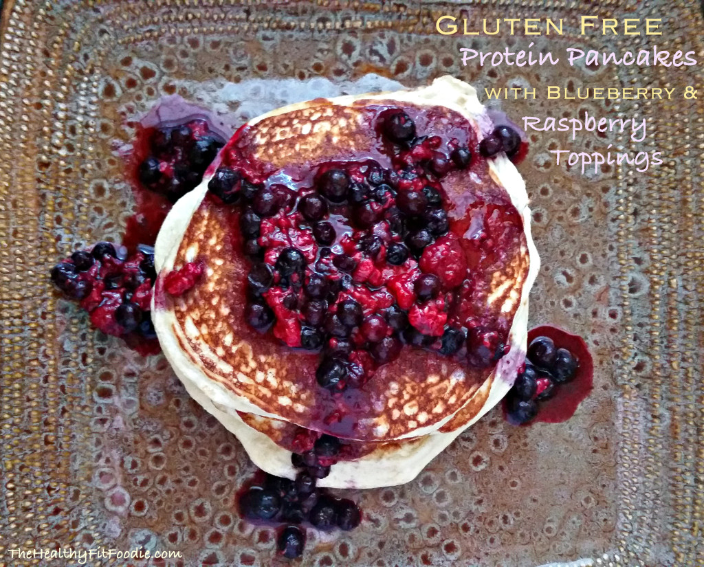 Gluten Free Protein Pancakes with Blueberry and raspberry toppings