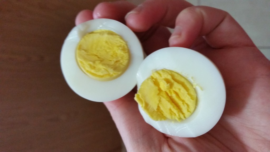 hard boiled egg split in half