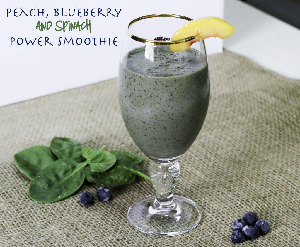 Peach, blueberry and spinach power smoothie