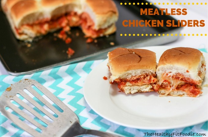 Meatless chicken sliders, healthy chicken sliders, healthy tailgating foods, chicken sliders