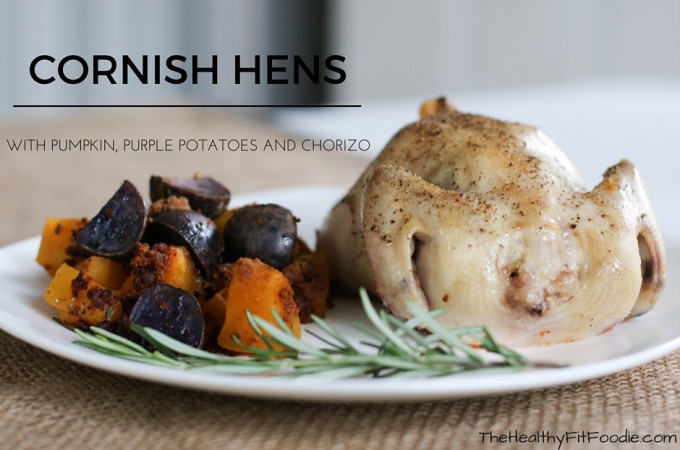 [AD] Cornish Hens with Pumpkin, Purple Potatoes and Chorizo