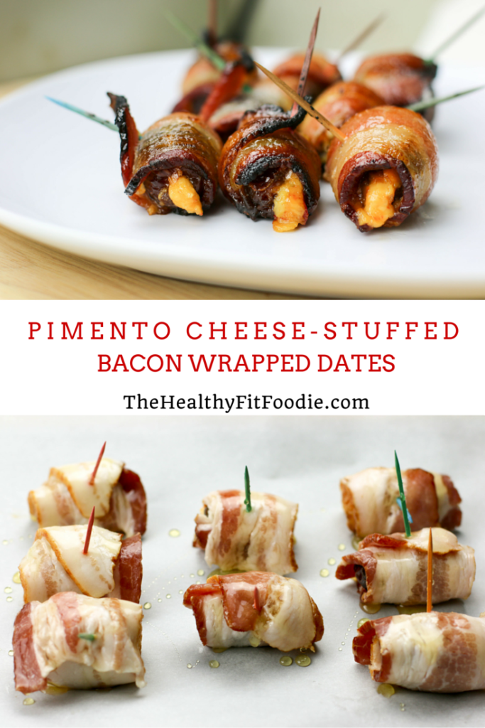 Pimento cheese-stuffed bacon wrapped dates