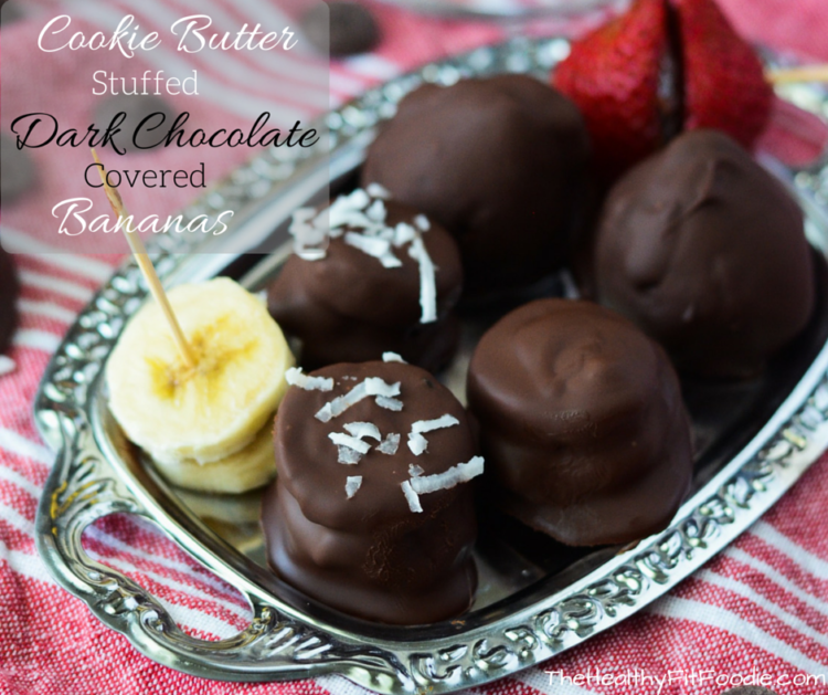 Cookie Butter Stuffed Dark Chocolate Covered Bananas