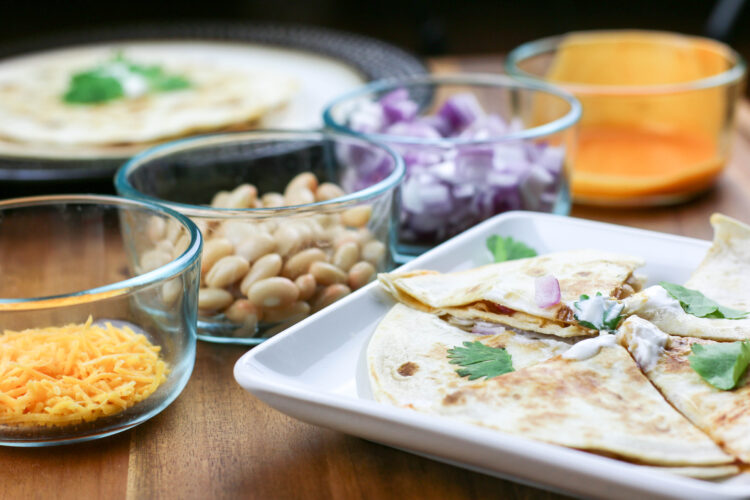 Quick and Easy Buffalo White Bean Quesadilla. Quick Mexican Dinner Idea. Simple healthy dinner idea.