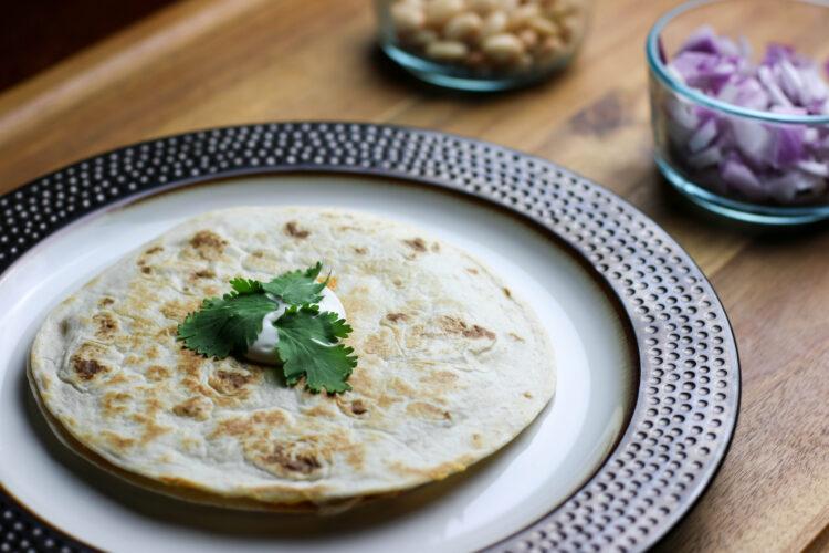 Quick and Easy Buffalo White Bean Quesadilla. Quick Mexican Dinner Idea. Simple healthy dinner idea.