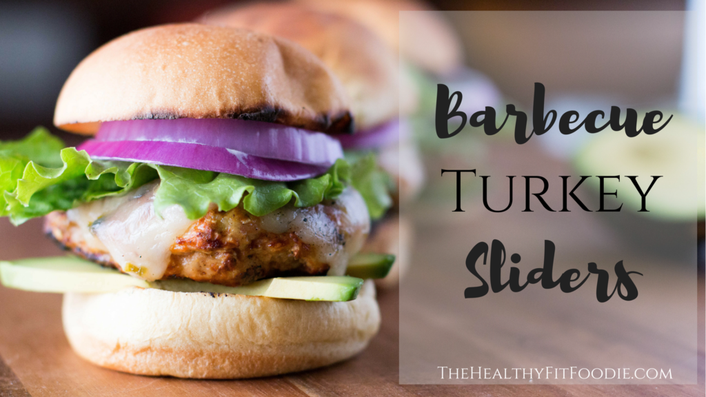Close up picture of a grilled turkey slider with caption on it