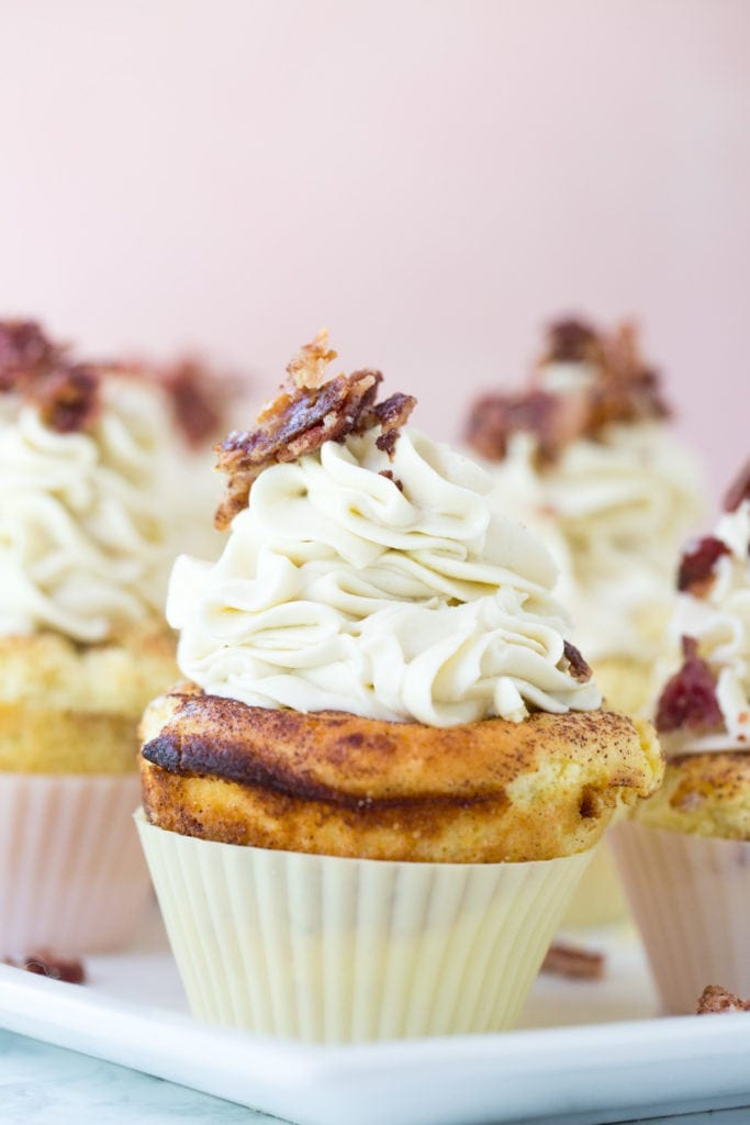 keto cupcakes with candied bacon and buttercream frosting