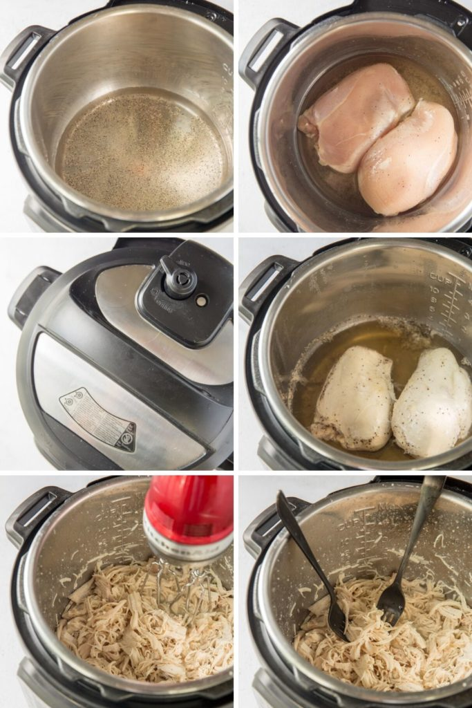 step by step directions how to make shredded chicken breast in an instant pot