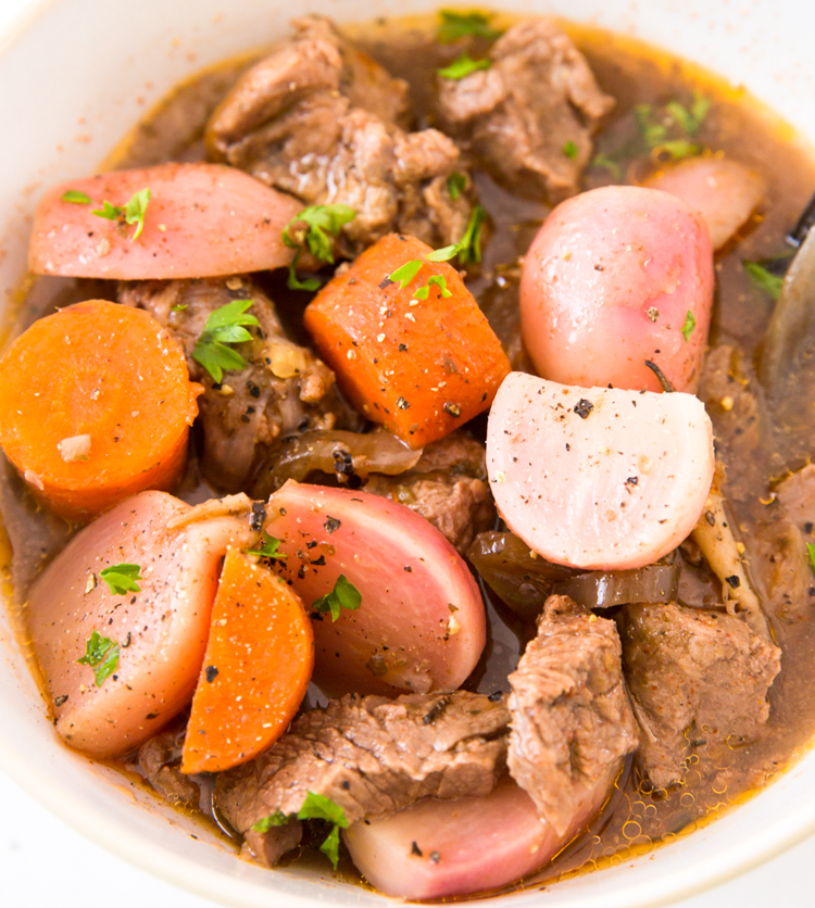 close up image of low carb crockpot beef stew